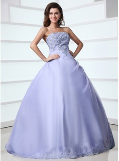 Ball-Gown Strapless Floor-Length Organza Satin Quinceanera Dress With Lace Beading