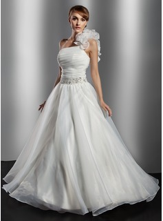 Ball-Gown One-Shoulder Floor-Length Organza Wedding Dress With Ruffle Beadwork Flower(s) Sequins (002014776)
