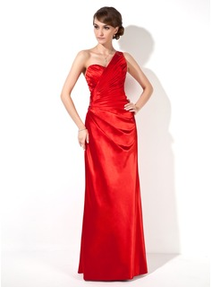 Sheath One-Shoulder Floor-Length Charmeuse Evening Dress With Ruffle Beading (017022549)