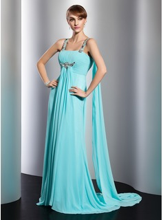 Empire Square Necklin Watteau Train Chiffon Evening Dress With Ruffle Beading (017014806)