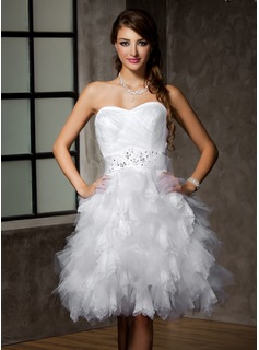 A-Line/Princess Sweetheart Knee-Length Satin Tulle Wedding Dress With Lace Beading Sequins Bow(s) Cascading Ruffles