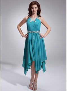 A-Line/Princess Square Neckline Asymmetrical Chiffon Tulle Holiday Dress With Ruffle Beading