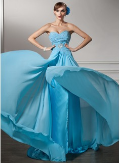 A-Line/Princess Sweetheart Court Train Chiffon Evening Dress With Ruffle Beading Sequins