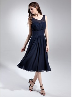 A-Line/Princess Scoop Neck Tea-Length Chiffon Bridesmaid Dress With Ruffle (007015677)