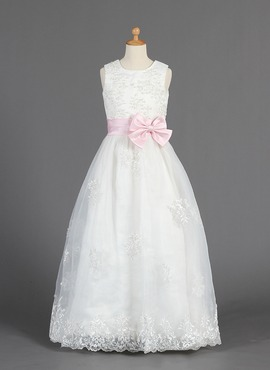 A-Line/Princess Scoop Neck Floor-Length Organza Satin Flower Girl Dress With Lace Sash Beading (010014657)