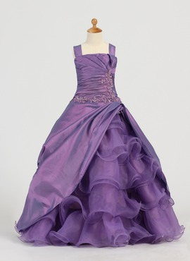 A-Line/Princess Square Neckline Floor-Length Taffeta Organza Flower Girl Dress With Ruffle Lace Beading (010005784)