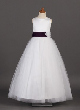 A-Line/Princess Scoop Neck Ankle-Length Satin Tulle Flower Girl Dress With Sash Flower(s) (010002142)