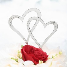 Double Hearts Chrome Wedding Cake Topper (Set of 2 pieces) (119030810)