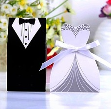 Tuxedo & Gown Favor Boxes With Ribbons (Set of 6 Pairs) (050024303)