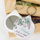 Personalized Floral Design Plastic Keychains/Compact Mirror