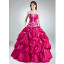 Ball-Gown Sweetheart Floor-Length Taffeta Quinceanera Dress With Ruffle Beading Appliques Lace Sequins (021016012)