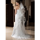 One-tier Cathedral Bridal Veils With Lace Applique Edge (006036776)