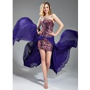 Sheath One-Shoulder Short/Mini Chiffon Tulle Prom Dress With Beading (018018867)