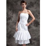Sheath/Column Strapless Tea-Length Taffeta Tulle Wedding Dress With Lace Beadwork (002024077)