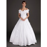 Ball-Gown Off-the-Shoulder Floor-Length Satin Wedding Dress With Lace Beading Flower(s)