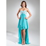 Empire Sweetheart Asymmetrical Chiffon Holiday Dress With Beading Appliques (020015520)