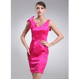 Sheath V-neck Knee-Length Charmeuse Cocktail Dress (016002974)