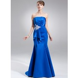Mermaid Scalloped Neck Sweep Train Satin Holiday Dress With Ruffle Beading Appliques Sequins