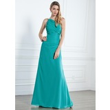 Sheath One-Shoulder Floor-Length Chiffon Bridesmaid Dress With Ruffle Beading (007004140)