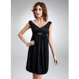 Empire V-neck Knee-Length Chiffon Homecoming Dress With Ruffle Beading