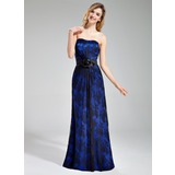 Sheath Sweetheart Floor-Length Charmeuse Lace Bridesmaid Dress With Flower(s) (007019606)