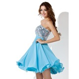 Empire Sweetheart Knee-Length Chiffon Sequined Prom Dress With Beading