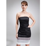 Sheath Strapless Knee-Length Charmeuse Cocktail Dress With Ruffle (016008237)