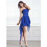 A-Line/Princess Strapless Asymmetrical Chiffon Prom Dress With Beading Cascading Ruffles