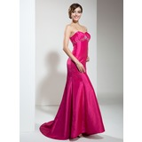Mermaid Sweetheart Sweep Train Taffeta Holiday Dress With Ruffle Beading