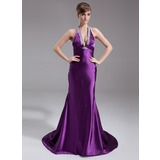 Mermaid Halter Court Train Charmeuse Evening Dress With Ruffle Beading (017020662)