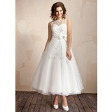 A-Line/Princess Scoop Neck Ankle-Length Taffeta Organza Wedding Dress With Ruffle Lace Crystal Brooch Bow(s)