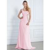 Mermaid One-Shoulder Sweep Train Chiffon Evening Dress With Ruffle Beading (017013090)
