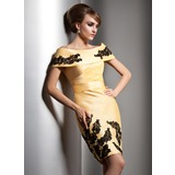 Sheath Off-the-Shoulder Knee-Length Taffeta Evening Dress With Lace (017005591)