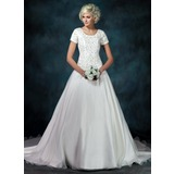 Ball-Gown Square Neckline Cathedral Train Organza Satin Wedding Dress With Embroidered Beading Sequins