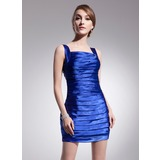Sheath Square Neckline Short/Mini Charmeuse Cocktail Dress With Ruffle Beading