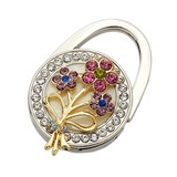 Floral Flower Design Chrome Purse Valets With Rhinestone