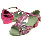 Kids' Sparkling Glitter Sandals Latin Ballroom With T-Strap Dance Shoes
