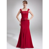 Mermaid Square Neckline Floor-Length Chiffon Lace Mother of the Bride Dress With Ruffle Beading