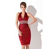 Sheath Halter Knee-Length Sequined Cocktail Dress With Beading