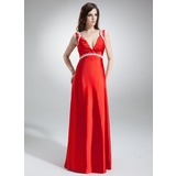 Empire V-neck Sweep Train Charmeuse Holiday Dress With Ruffle Beading