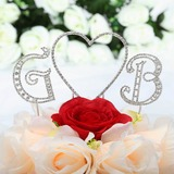 Monogram/Heart Chrome Wedding Cake Topper (119030804)