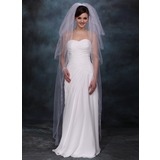 Chapel Veils Tulle Three-tier Lace Applique Edge Wedding Veils With Angel Cut/Waterfall (006020355)
