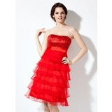 Empire Sweetheart Knee-Length Organza Charmeuse Homecoming Dress With Sequins (022020762)