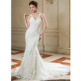 Trumpet/Mermaid V-neck Court Train Organza Wedding Dress With Ruffle Lace Beading Sequins