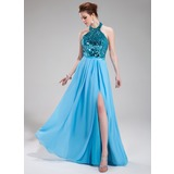 A-Line/Princess Halter Floor-Length Chiffon Sequined Evening Dress With Split Front