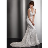Mermaid V-neck Court Train Charmeuse Lace Wedding Dress