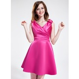 A-Line/Princess V-neck Short/Mini Satin Bridesmaid Dress With Ruffle Bow(s)