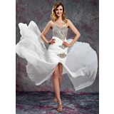 Sheath Sweetheart Court Train Chiffon Prom Dress With Ruffle Beading Sequins