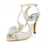 Stiletto Heel Sandals Wedding Shoes With Beading Imitation Pearl Rhinestone (047020190)