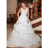 Ball-Gown V-neck Chapel Train Taffeta Organza Wedding Dress With Ruffle Lace